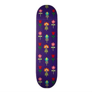 Retro folk floral pattern skateboard