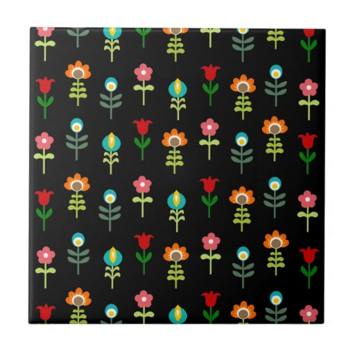 Retro folk floral pattern tiles