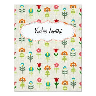 Retro folk flower pattern 11 cm x 14 cm invitation card