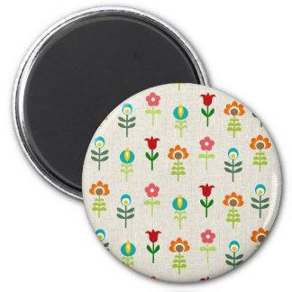 Retro folk flower pattern 6 cm round magnet