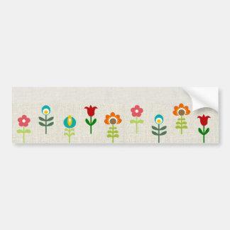 Retro folk flower pattern bumper sticker