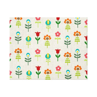 Retro folk flower pattern canvas print