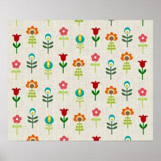 Retro folk flower pattern poster