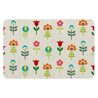 Retro folk flower pattern rectangular photo magnet