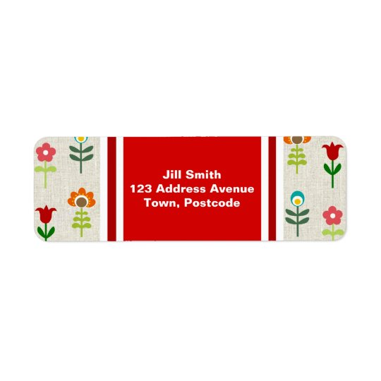 Retro folk flower pattern return address label