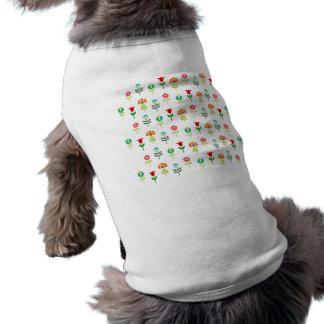 Retro folk flower pattern sleeveless dog shirt