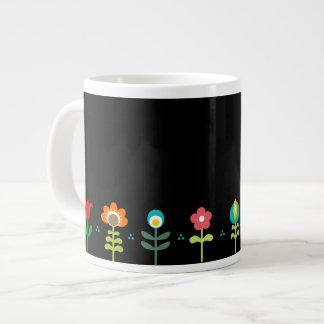 Retro folk flowers on black large coffee mug