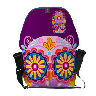 Retro Folk Owl Messenger Bag