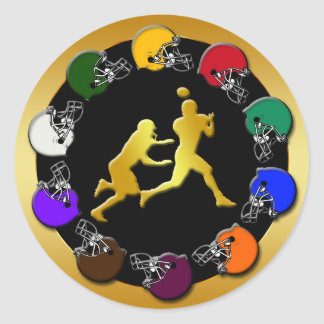 RETRO FOOTBALL DESIGN CLASSIC ROUND STICKER