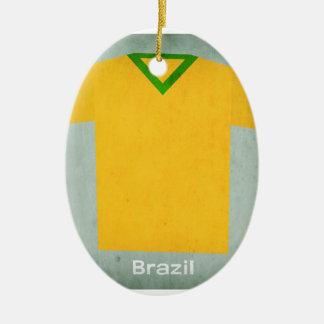 Retro Football Jersey Brazil Christmas Ornament