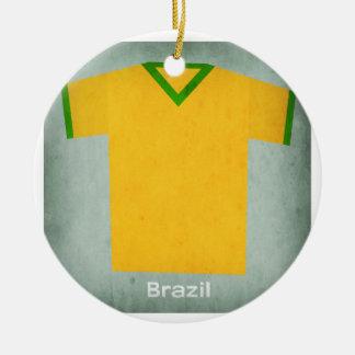 Retro Football Jersey Brazil Christmas Ornament