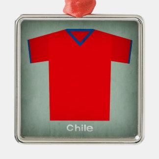 Retro Football Jersey Chile Silver-Colored Square Decoration