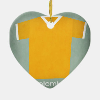 Retro Football Jersey Colombia Ceramic Heart Decoration