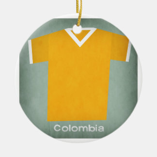 Retro Football Jersey Colombia Round Ceramic Decoration