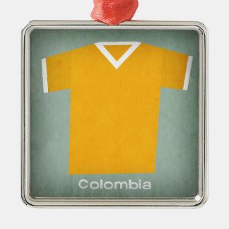 Retro Football Jersey Colombia Silver-Colored Square Decoration