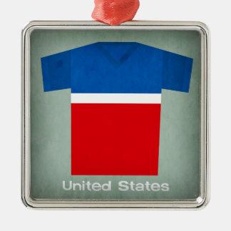 Retro Football Jersey United States Silver-Colored Square Decoration