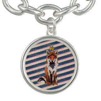 Retro Fox & Little Bird Charm Bracelet