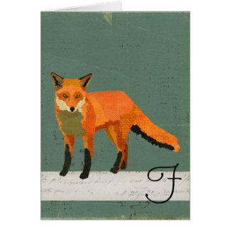 Retro Fox Monogram Notecard