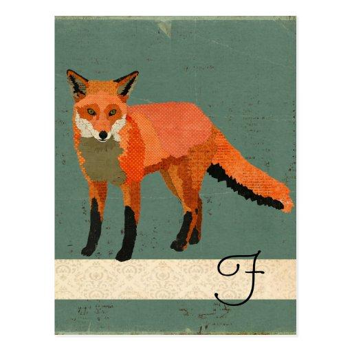 Retro Fox Monogram Postcard