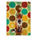 Retro Fox & Owl Birthday Card