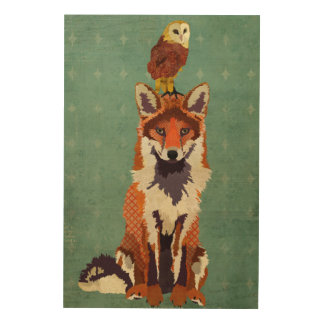 Retro Fox & Owl Wooden Canvas Wood Prints