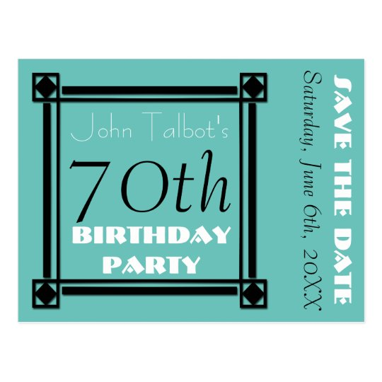 Retro Frame 70th birthday Party Save the Date