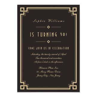 Retro Frame Art Deco Dark Birthday Invitation