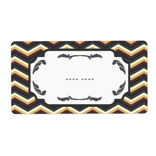 Retro Framed Chevron Pattern Label