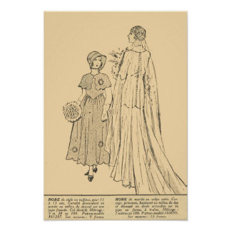 Retro French  Fashion, bride and flower girl 1931 Poster