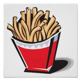 retro french fries design poster
