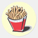 retro french fries design round sticker