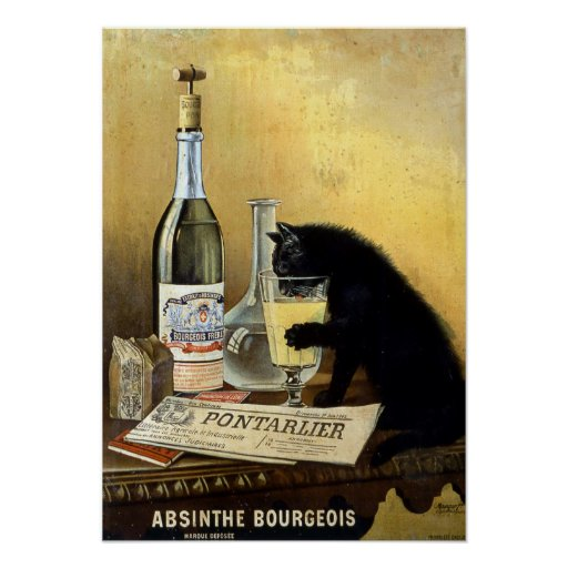 """Retro french poster """"absinthe bourgeois"""""""
