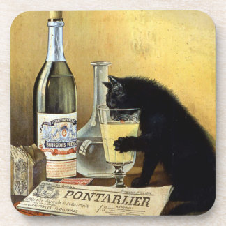"Retro french poster ""absinthe bourgeois"" beverage coaster"