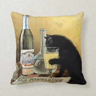 "Retro french poster ""absinthe bourgeois"" cushion"