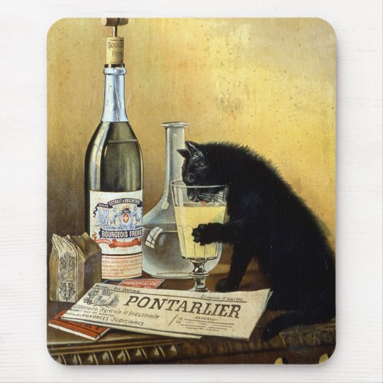 "Retro french poster ""absinthe bourgeois"" mouse mat"