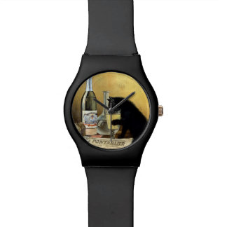"Retro french poster ""absinthe bourgeois"" wrist watches"