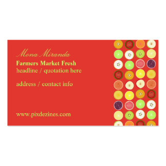 Retro fruits business card, raspberry background