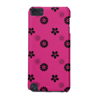 Retro Fuchsia and Black Flowers iPod Touch Case