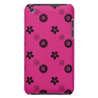 Retro Fuchsia and Black Flowers  iPod Touch Cases