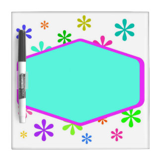Retro Fun and Flowers Dry Erase Board