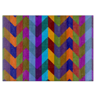 Retro Fun Colorful Chevron Pattern 10 Cutting Board