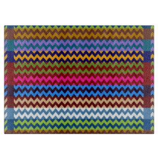 Retro Fun Colorful Chevron Pattern 5 Cutting Board