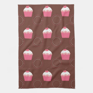 Retro Fun Cupcake Pattern Hand Towel