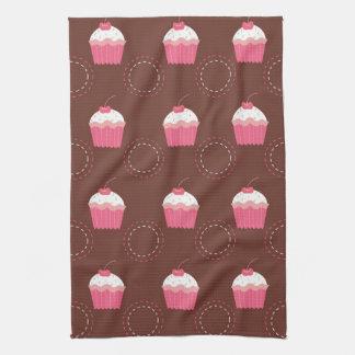 Retro Fun Cupcake Pattern Tea Towel