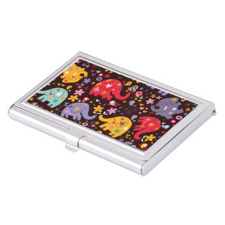 Retro Fun Elephant Pattern Business Card Holder