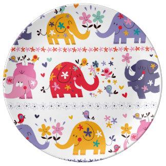 Retro Fun Elephant Pattern Porcelain Plates