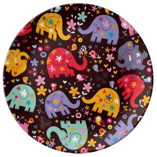 Retro Fun Elephant Pattern Porcelain Plate
