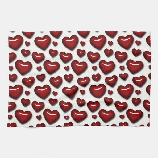 Retro Fun Red Heart Pattern Hand Towels