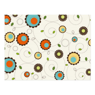 Retro Funky 70s Pattern Postcard