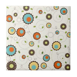 Retro Funky 70s Pattern Small Square Tile